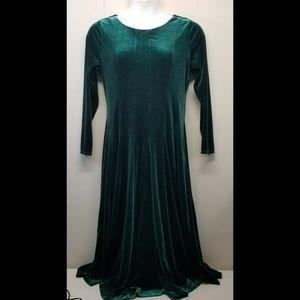 Coldwater Creek L Dress Green Velvet A Line Flare